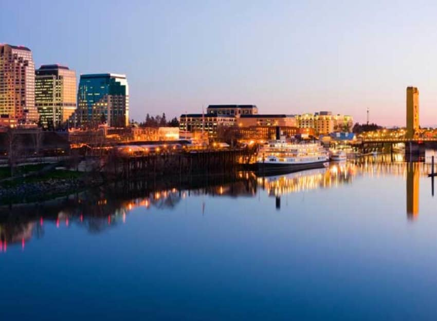 Sacramento river and city skyline at Golden Pond Retirement Community in Sacramento, California
