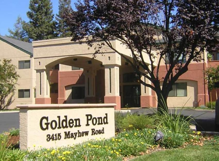 Front entrance sign at Golden Pond Retirement Community in Sacramento, California
