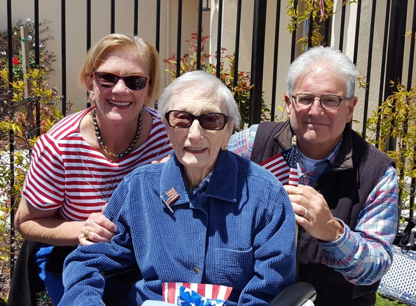 Residents celebrating Independence Day at Peninsula Reflections in Colma