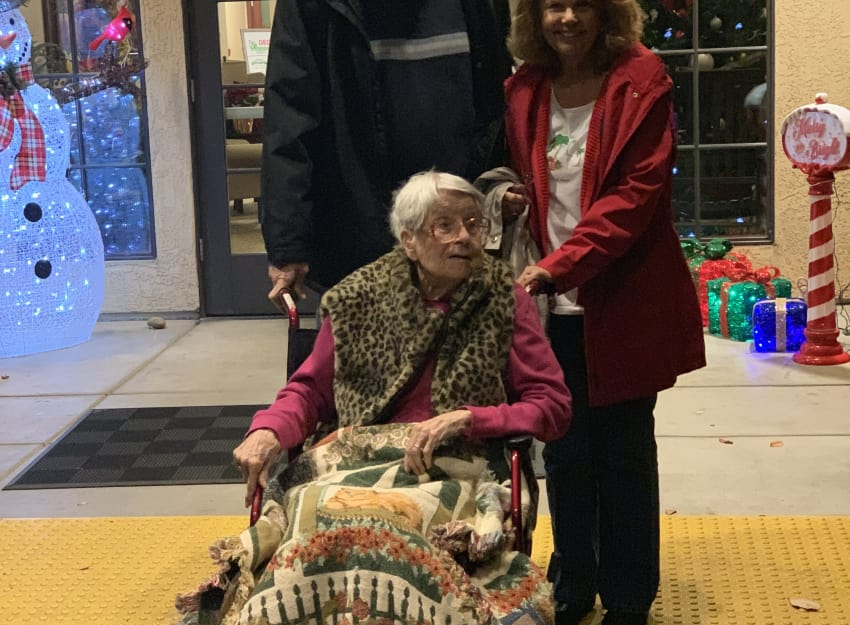 Resident celebrating the holidays at Golden Pond Retirement Community in Sacramento
