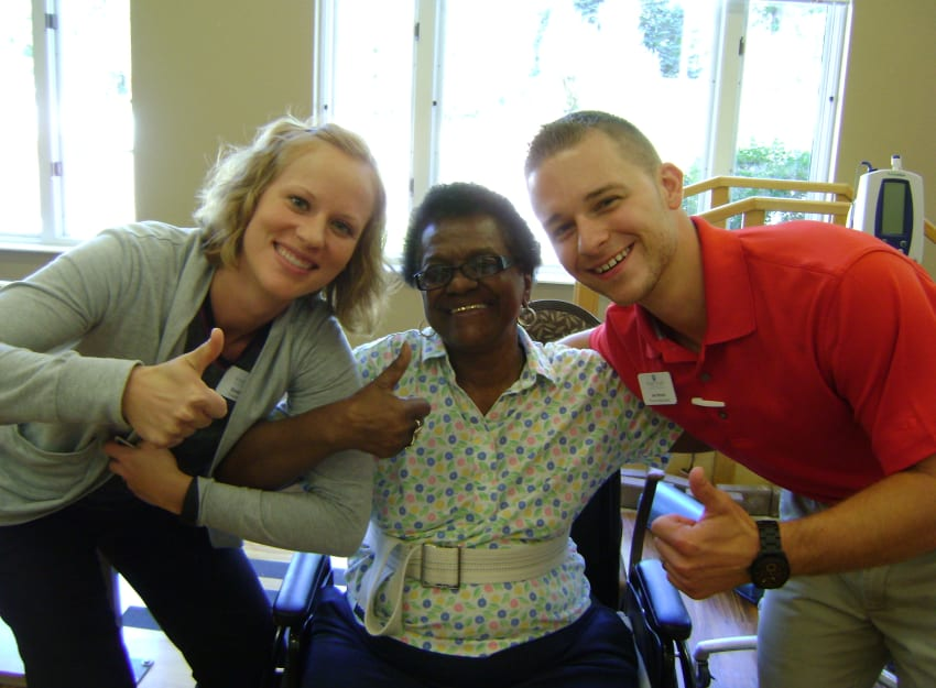 Resident with family at Ramsey Village Continuing Care in Des Moines, Iowa