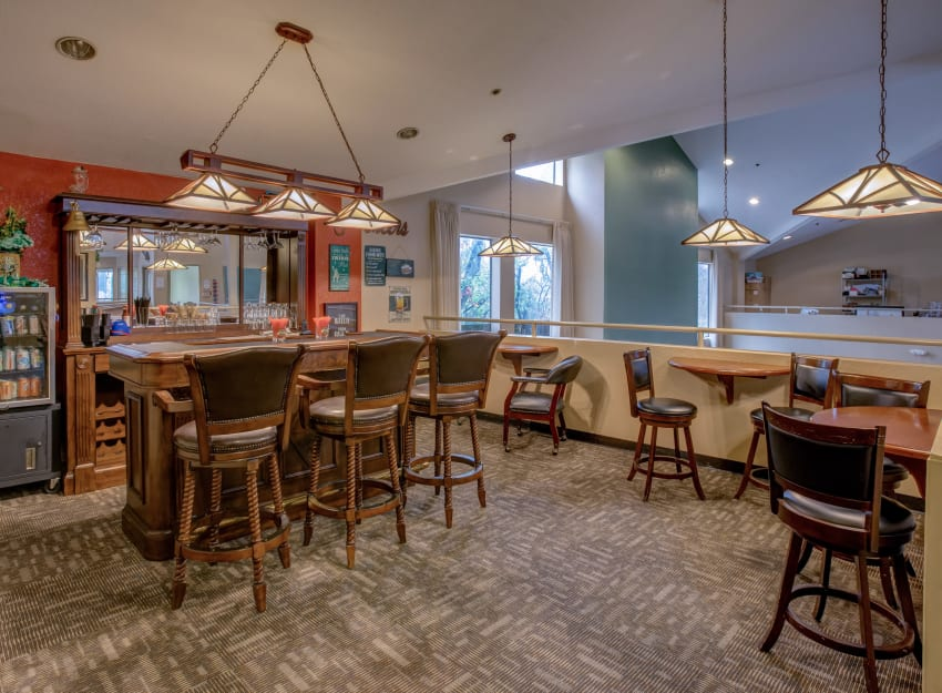Concession and lounge area at Golden Pond Retirement Community in Sacramento, California