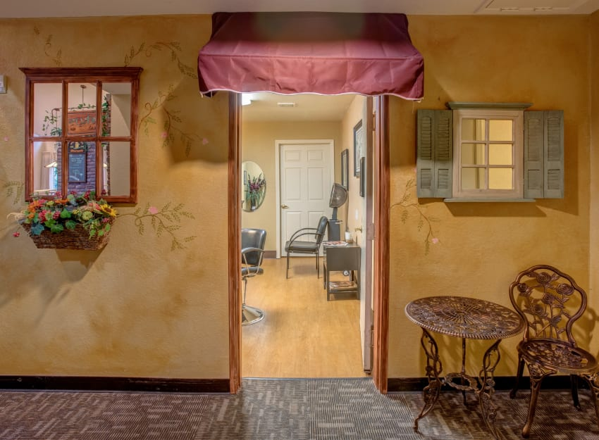 Old-style parlor shop at Golden Pond Retirement Community in Sacramento, California