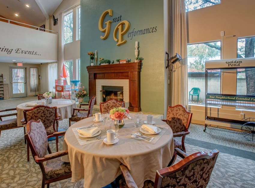 Spacious dining room at Golden Pond Retirement Community in Sacramento, California