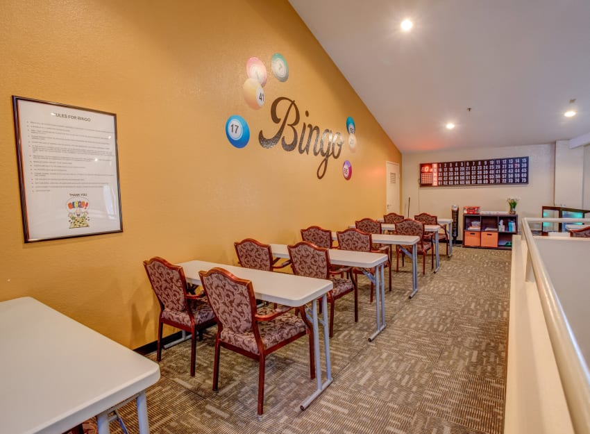 Bingo room at Golden Pond Retirement Community in Sacramento, California