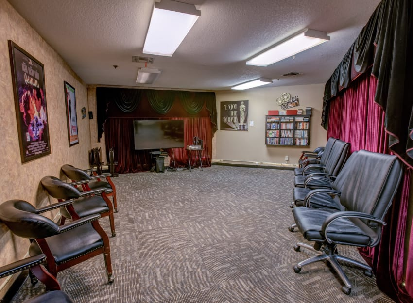 Cozy movie theater at Golden Pond Retirement Community in Sacramento, California