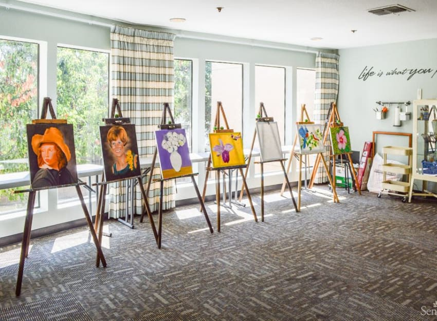 Resident's art being displayed at Golden Pond Retirement Community in Sacramento, California