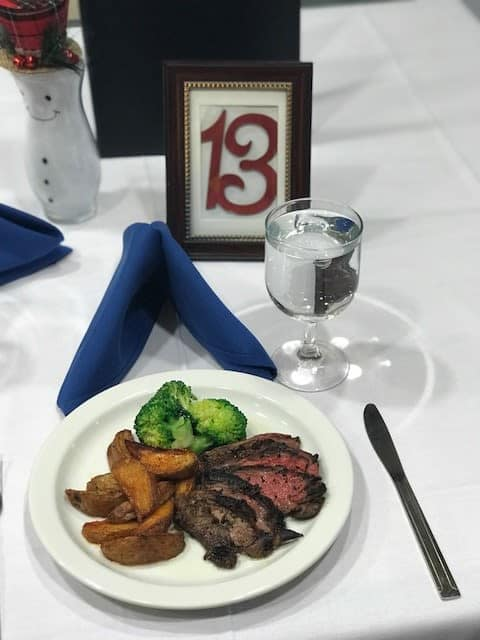 Delicious steak dinner at Symphony Manor in Baltimore, Maryland
