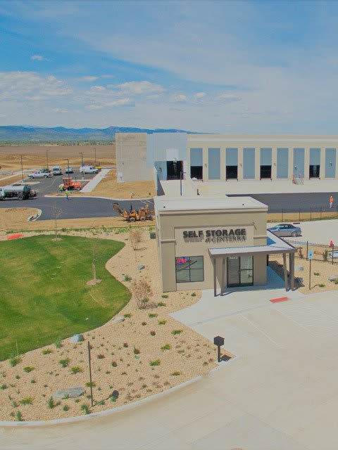Aerial view of self storage units at Self Storage at Centerra in Loveland, Colorado