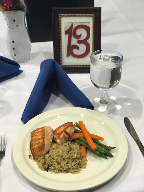 Salmon and rice dish at Symphony Manor in Baltimore, Maryland