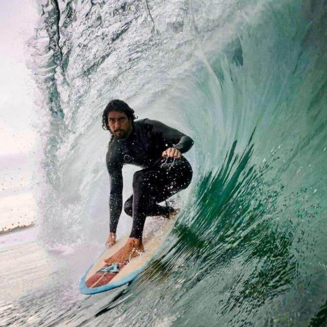 Man riding a wave