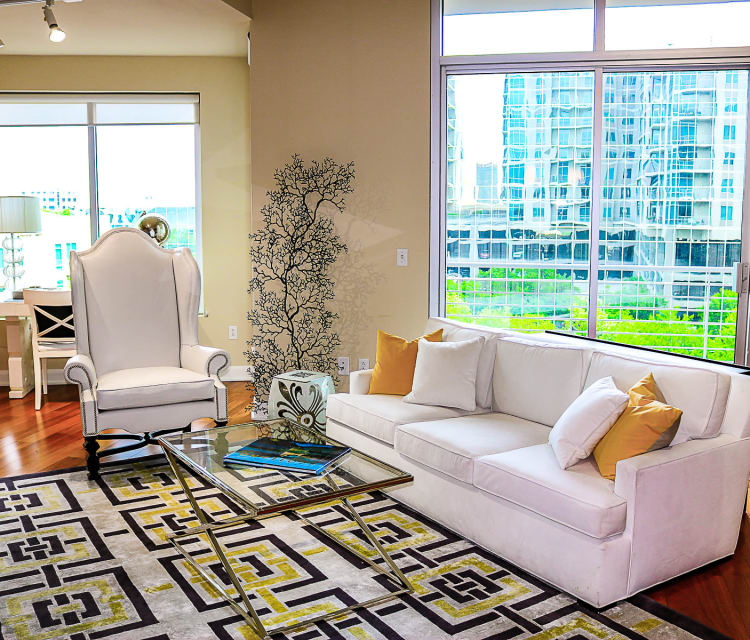 furnished apartment living room at The Heights at Park Lane