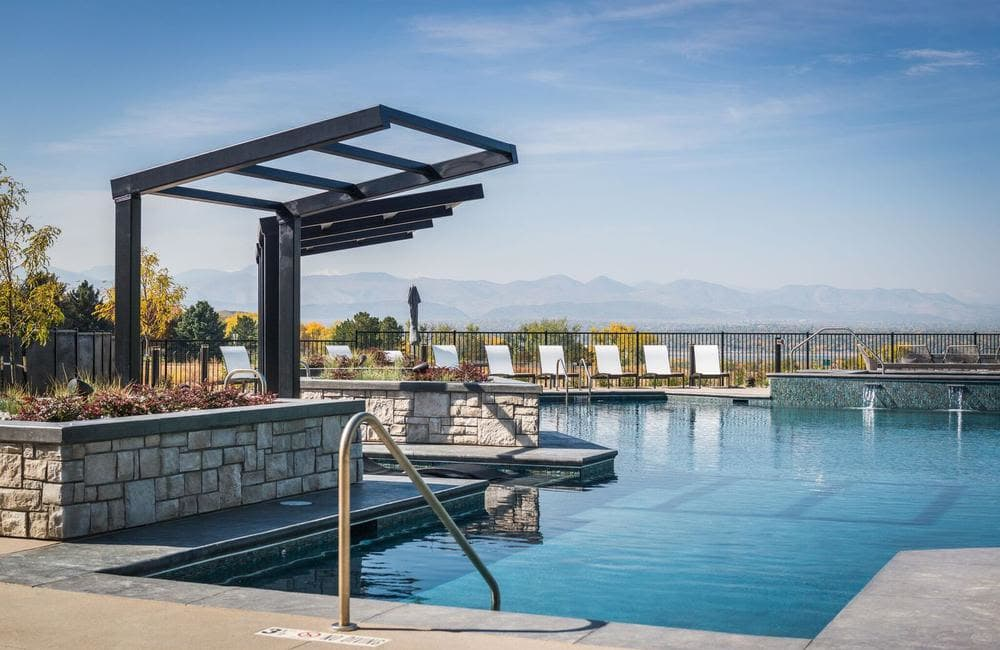 Beautiful swimming pool at apartments in Highlands Ranch, Colorado