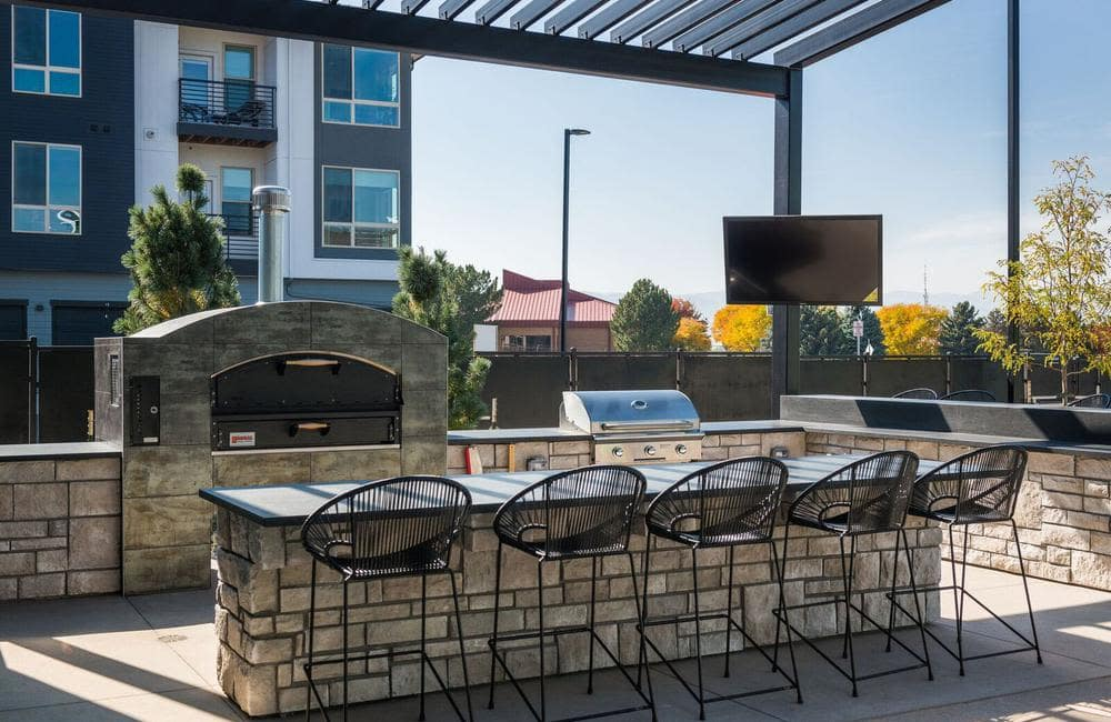 Beautiful bbq area at apartments in Highlands Ranch, Colorado