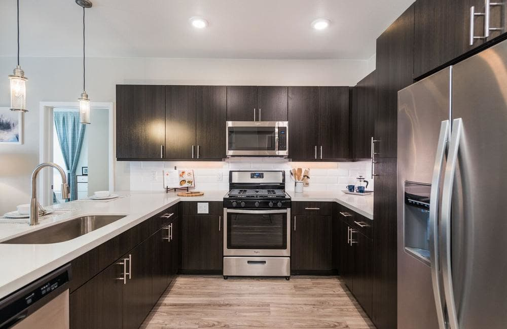 Modern kitchen at apartments in Highlands Ranch, Colorado