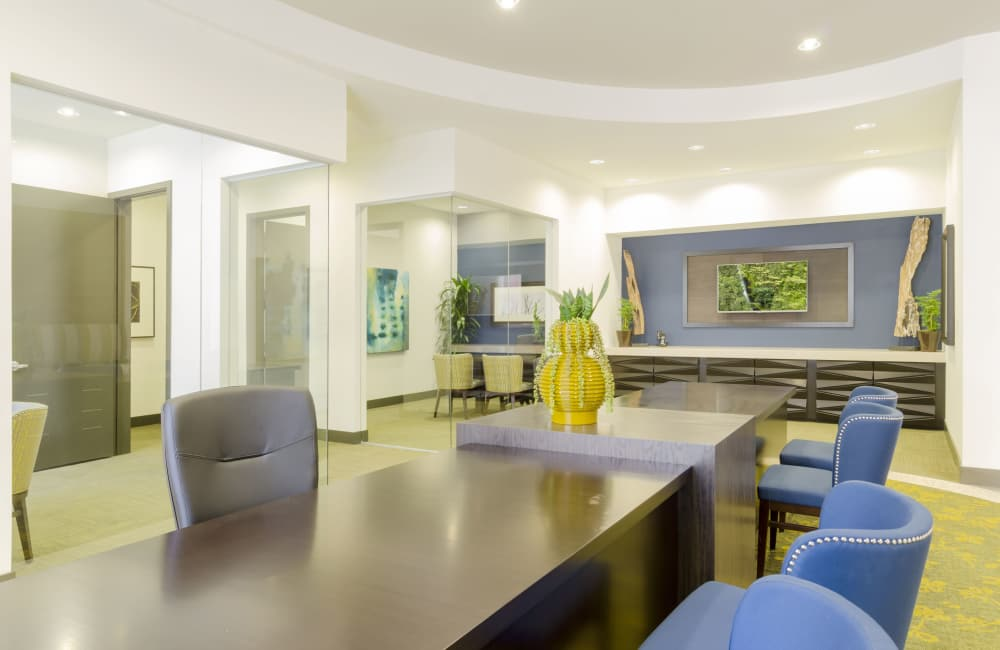 Naturally well-lit office at apartments in Denver, Colorado