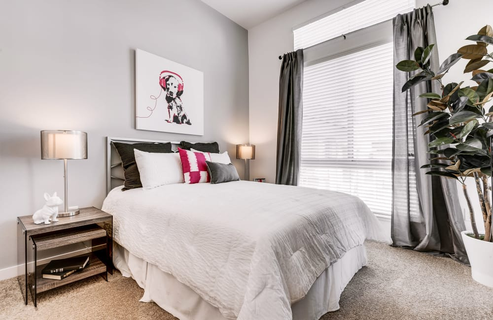 Model bedroom at Solana Cherry Creek in Denver, CO