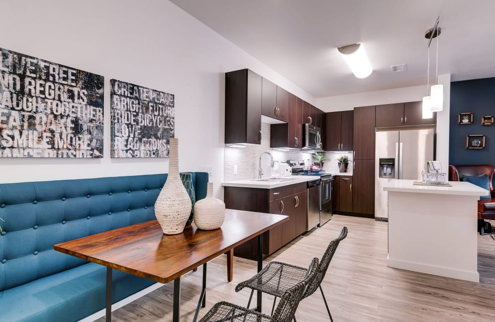 Dining area and Kitchen Entrance at Solana Cherry Creek apartments for rent in Denver