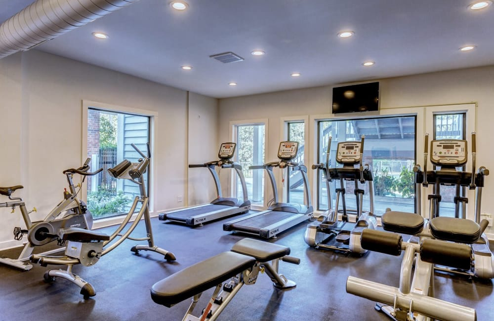 Well-equipped fitness center at Lyric on Bell in Antioch, Tennessee