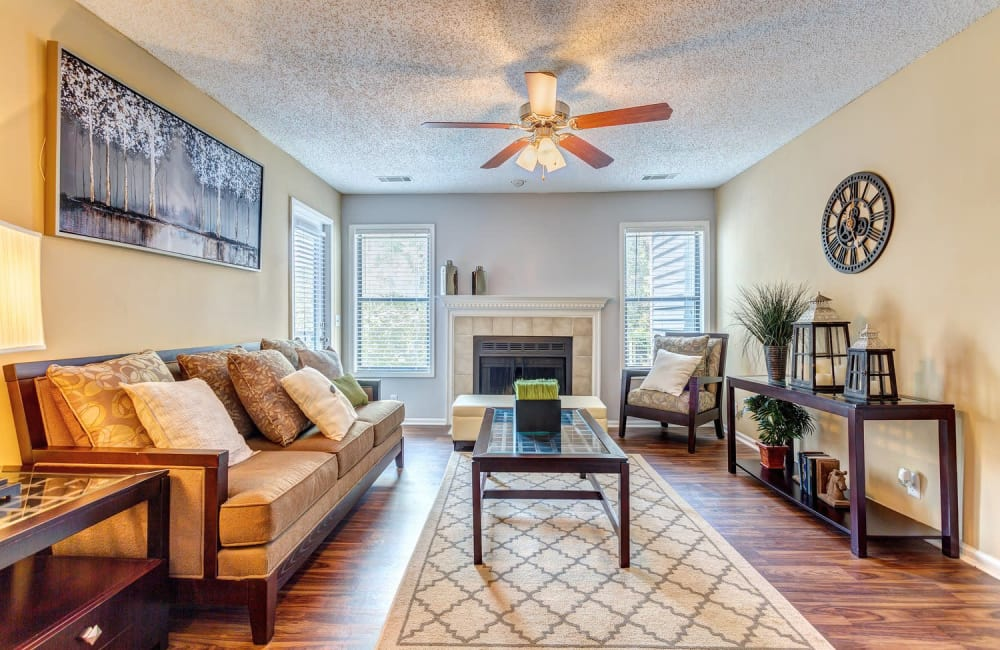 Beautifully decorated living area in model home at Lyric on Bell in Antioch, Tennessee