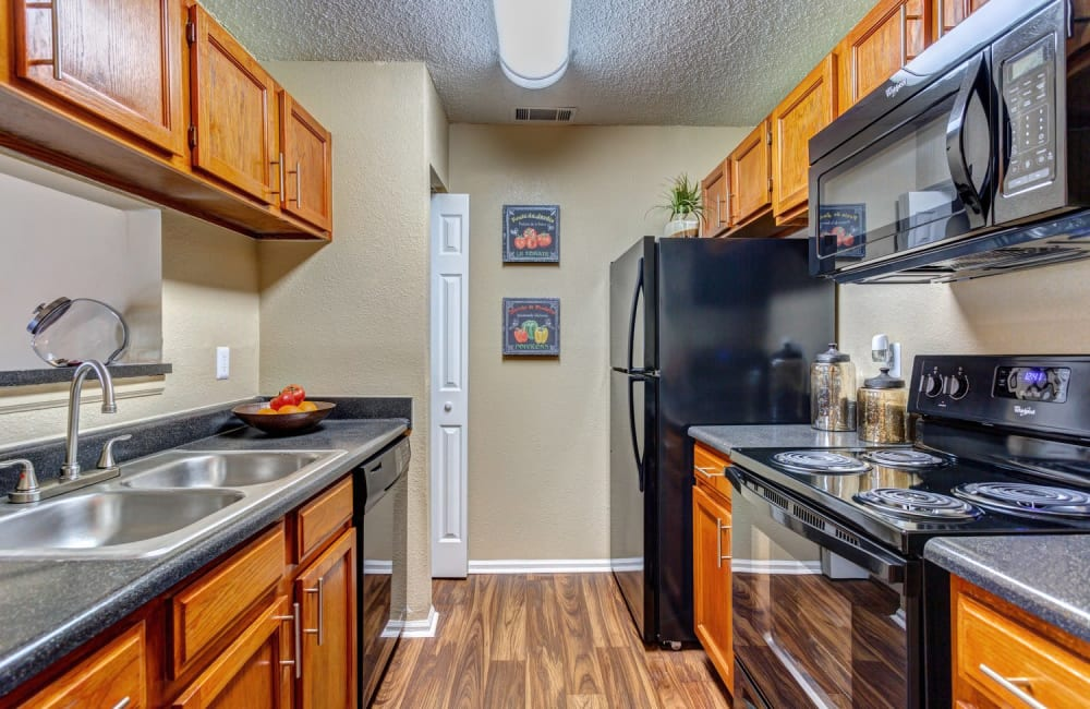 Modern kitchen with black appliances in model home at Lyric on Bell in Antioch, Tennessee