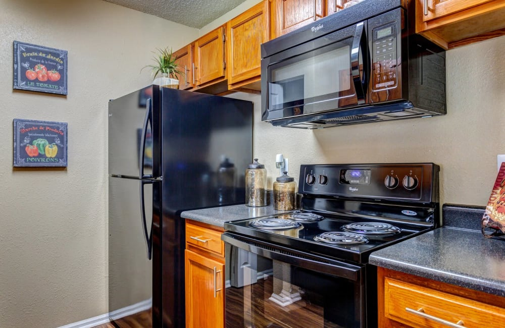Granite-style countertops in model home's kitchen at Lyric on Bell in Antioch, Tennessee