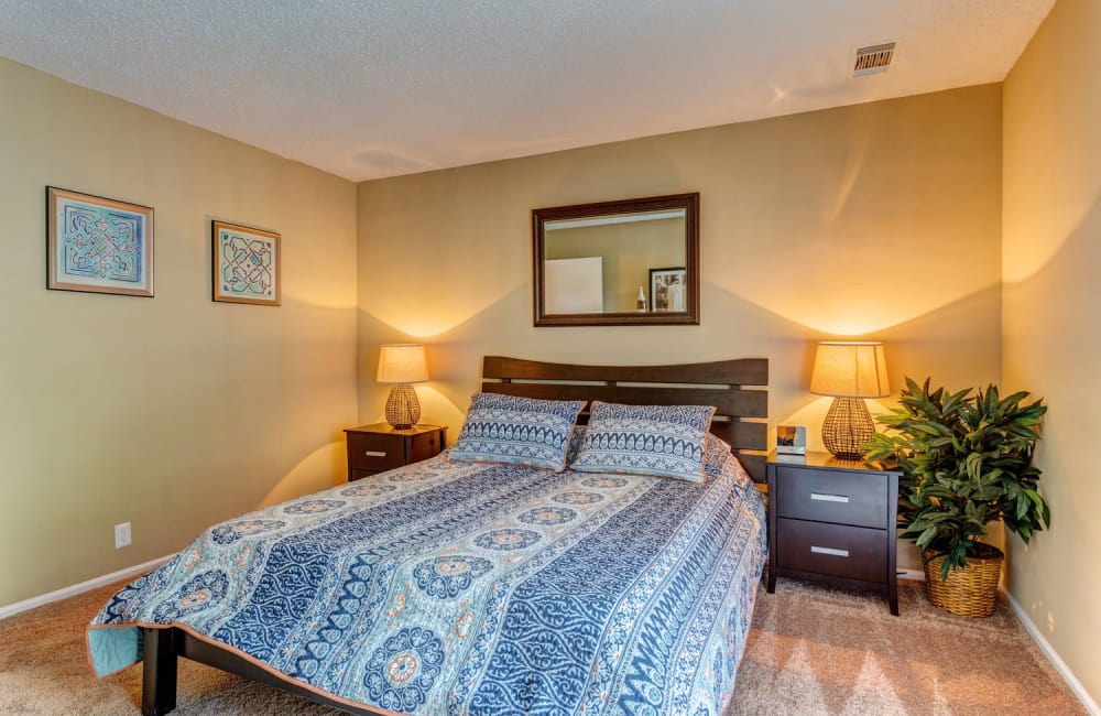 Master bedroom in model home at Lyric on Bell in Antioch, Tennessee