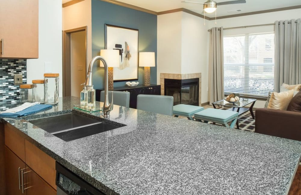 Granite countertop on the island in the gourmet kitchen of model home at Presley Oaks in Charlotte, North Carolina