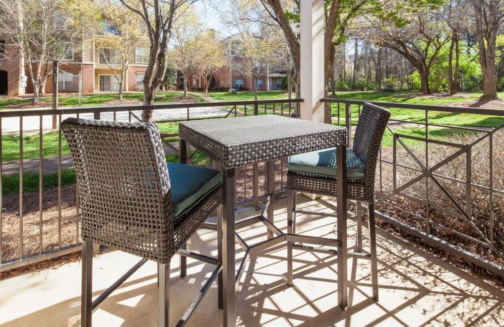 Private patio outside apartment home at Presley Oaks in Charlotte, North Carolina