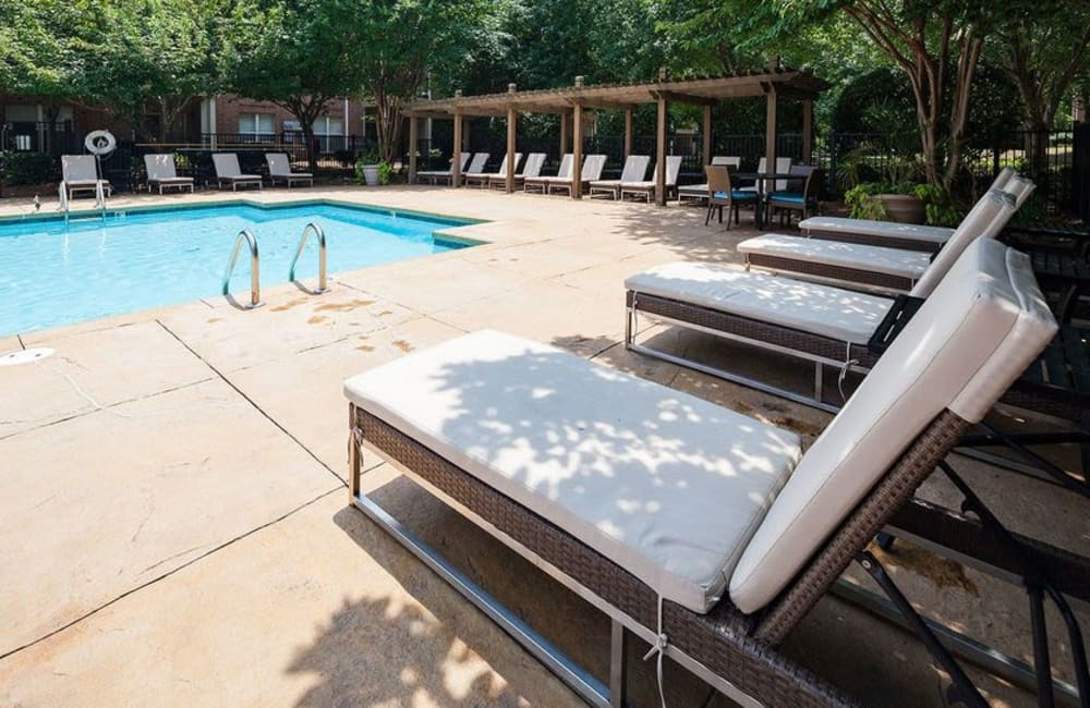 Chaise lounge chairs near the pool at Presley Oaks in Charlotte, North Carolina