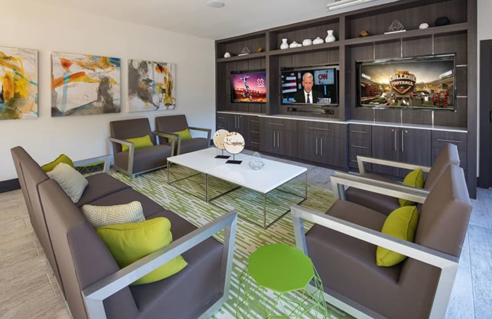 Contemporary furnishings in the resident clubhouse at Presley Oaks in Charlotte, North Carolina