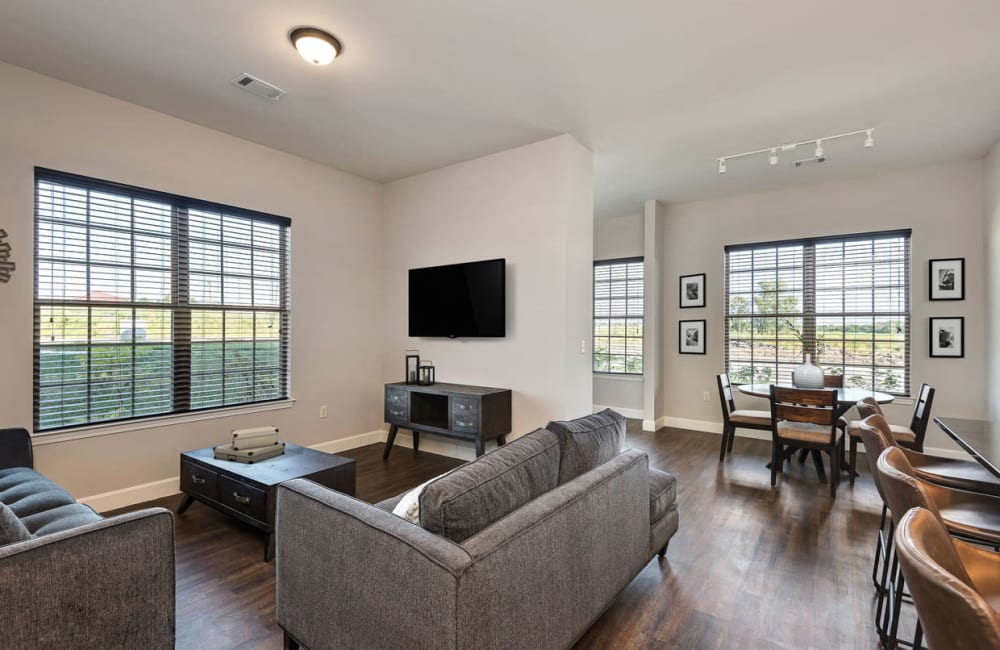 Wood flooring in an apartment living room at Boulders at Overland Park Apartments in Overland Park, Kansas