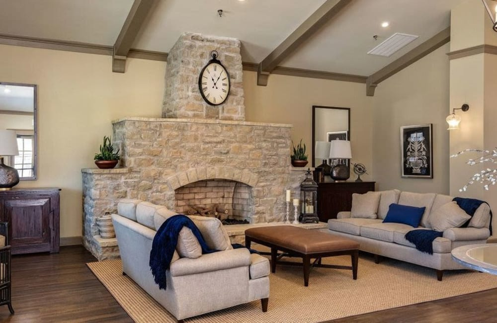 Fireside seating in the leasing office at Boulders at Overland Park Apartments in Overland Park, Kansas