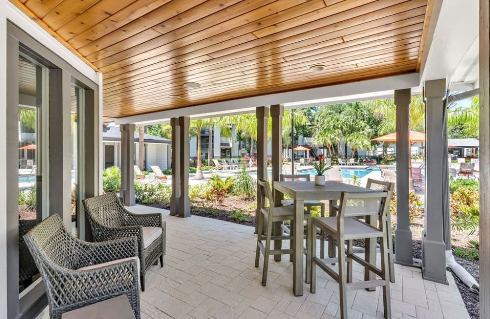 A private patio at The Braxton in Palm Bay, Florida