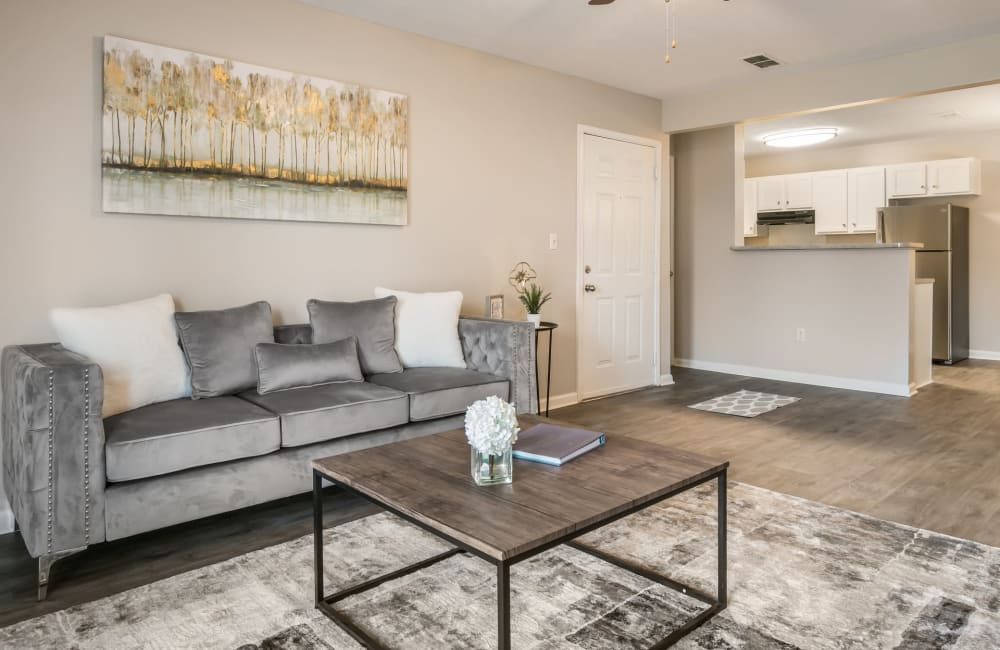 Beautiful spacious living room at Bayou Landing Apartments in Gulfport, Mississippi