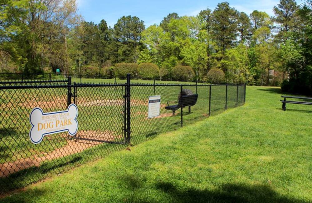 Onsite dog park for residents and their pets at Berkshire 54 in Carrboro, North Carolina