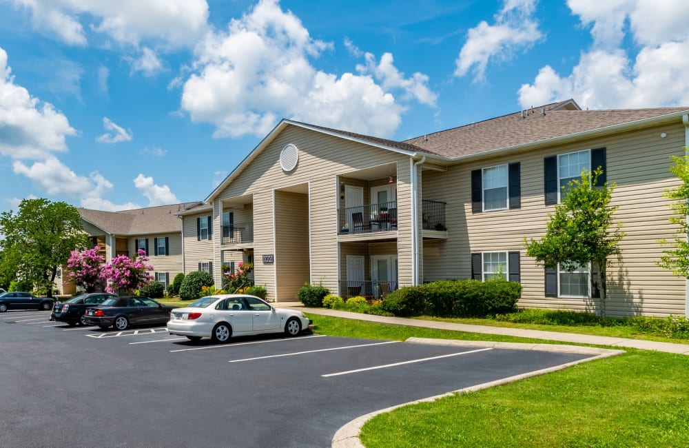 Parking in front of apartments at The Pointe at Westland in Cleveland, Tennessee