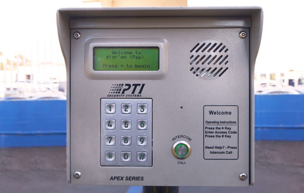 Keypad entry system at Stor'em Self Storage in San Diego, California