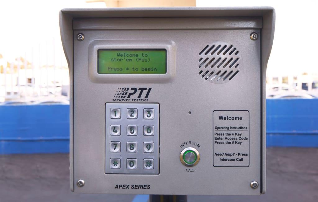 Keypad entry system at Stor'em Self Storage in Springville, Utah