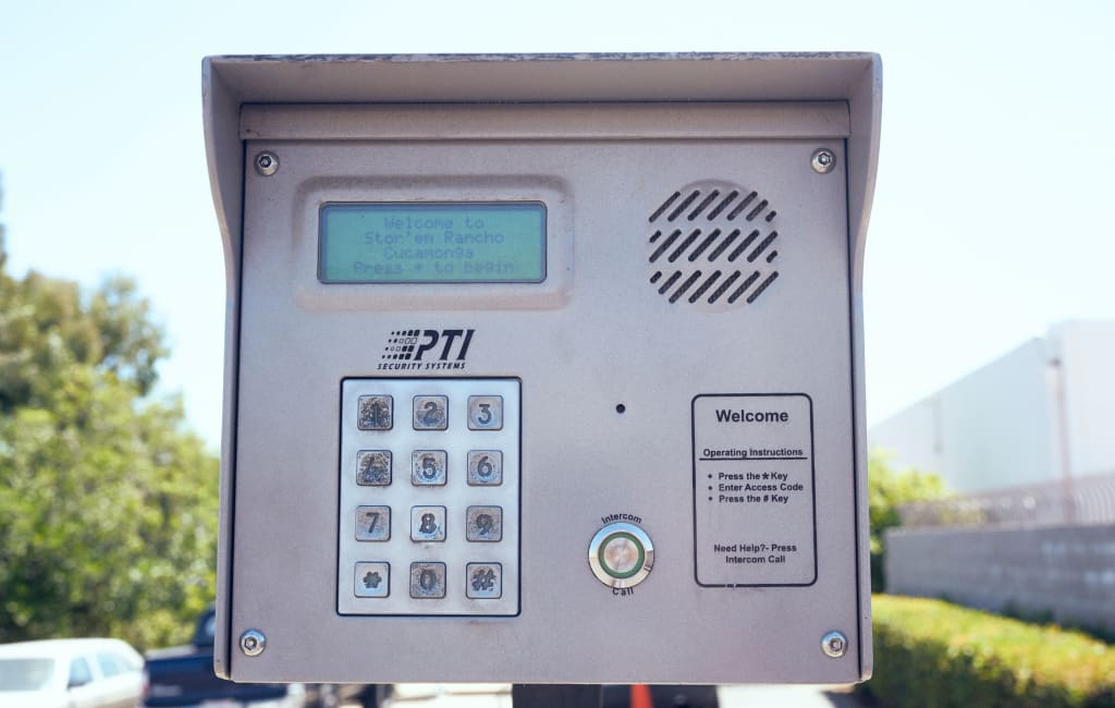 Keypad entry system at Stor'em Self Storage in Rancho Cucamonga, California