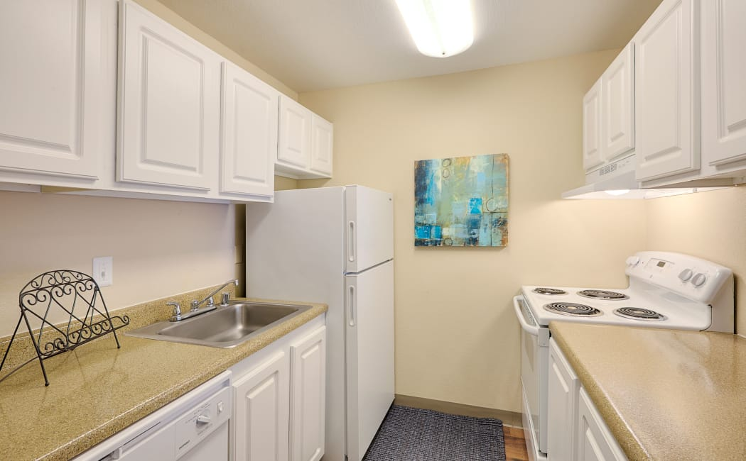 Contemporary kitchen with all the conveniences in model home at The Boulevard at South Station Apartment Homes
