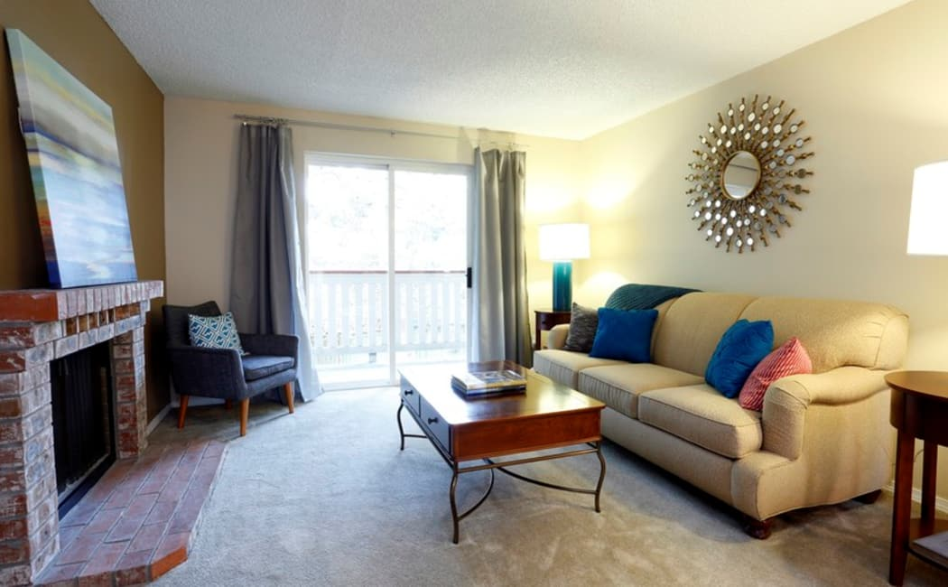 Spacious living room in model apartment home at Discovery Landing Apartment Homes