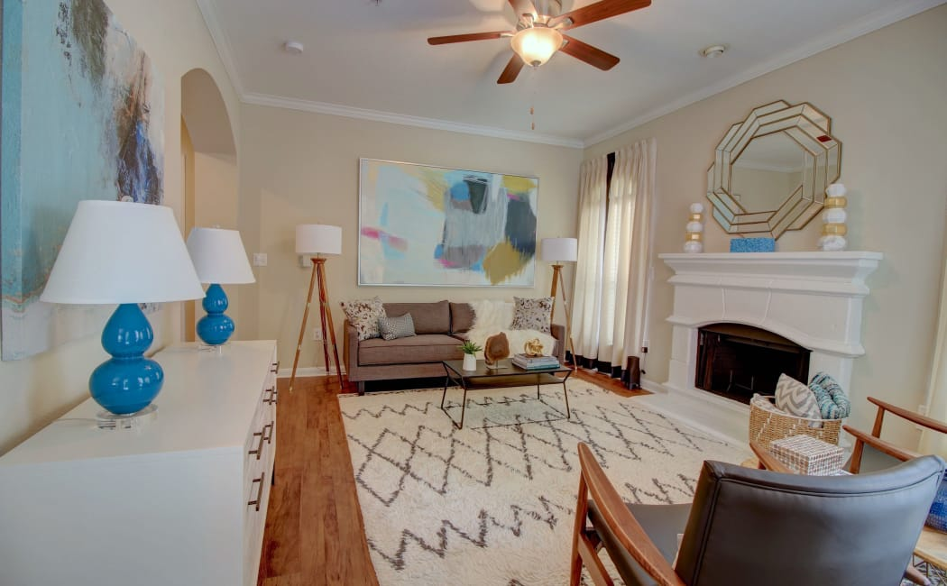 The Park at Research Forest offers a renovated living room in The Woodlands, Texas
