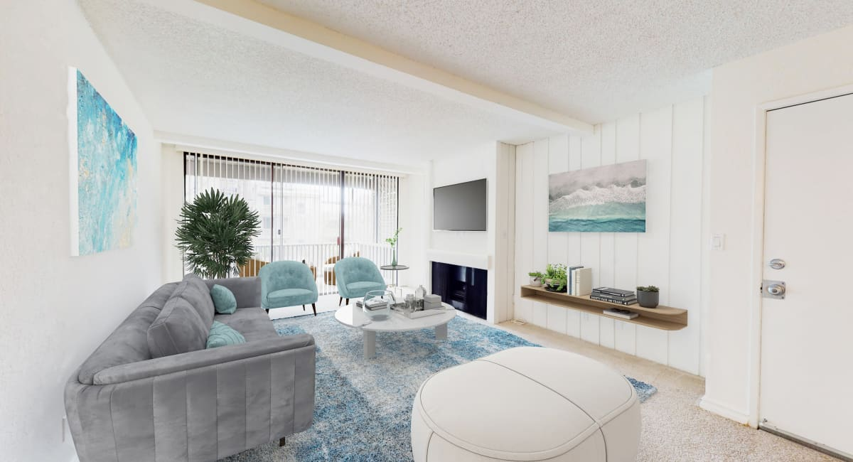 Modern furnishings in a model home's living area at Mariners Village in Marina del Rey, California