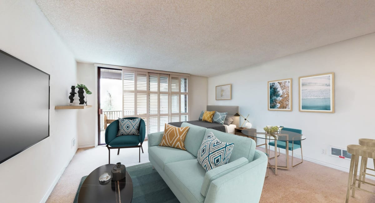 Plush carpeting in a model apartment's living space at Mariners Village in Marina del Rey, California