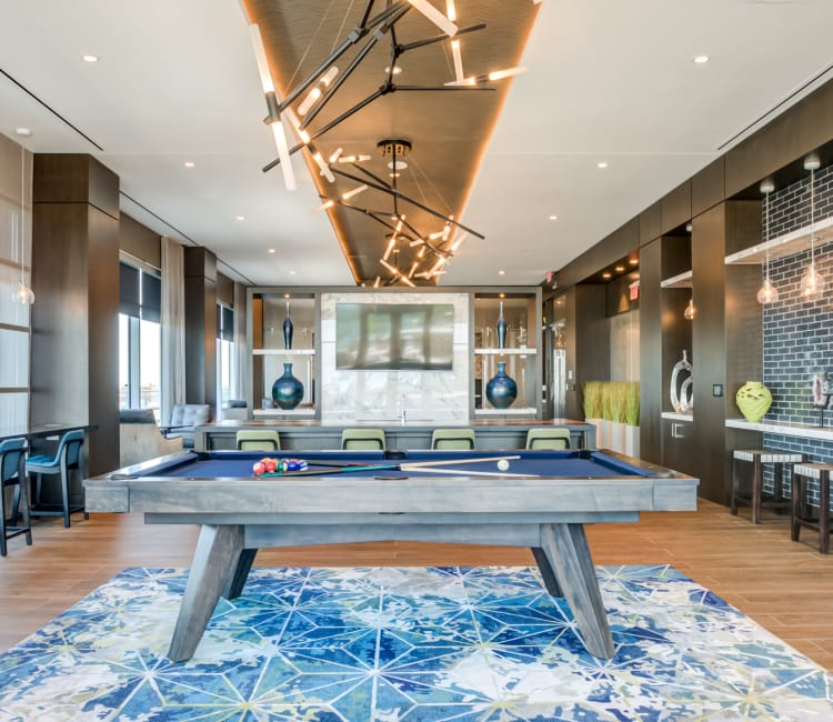 Pool table and game room at  at Gallery Bethesda II in Bethesda, MD