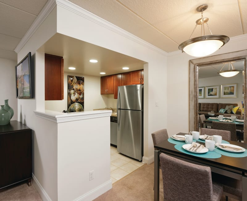 An apartment kitchen and dining room at Golf Club Apartments in West Chester, Pennsylvania