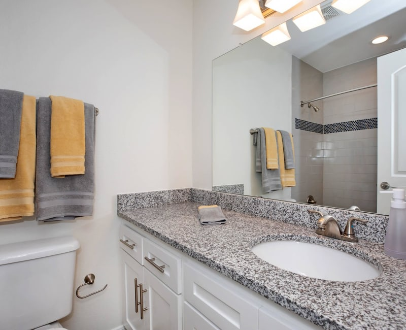 Bathroom with granite counters at Roundhill Townhomes in Houston, Texas