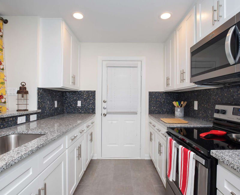 Sleek, modern kitchen at Roundhill Townhomes in Houston, Texas