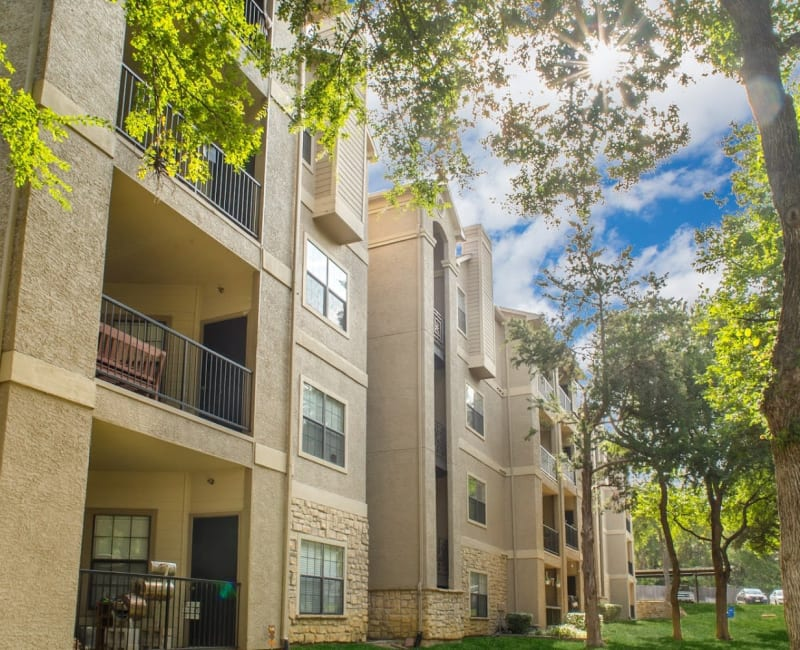 Private patios and balconies at The Aidan in Lewisville, Texas